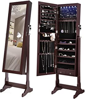 SONGMICS 6 LEDs Mirror Jewelry Cabinet Lockable Standing...