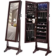 SONGMICS 6 LEDs Mirror Jewelry Cabinet Armoire, Lockable Free Standing Jewelry Organizer, Large...