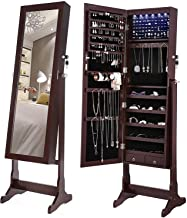 SONGMICS 6 LEDs Mirror Jewelry Cabinet Armoire, Lockable Free Standing Jewelry Organizer, Large Capacity with 2 Drawers, Dark Brown UJJC94K