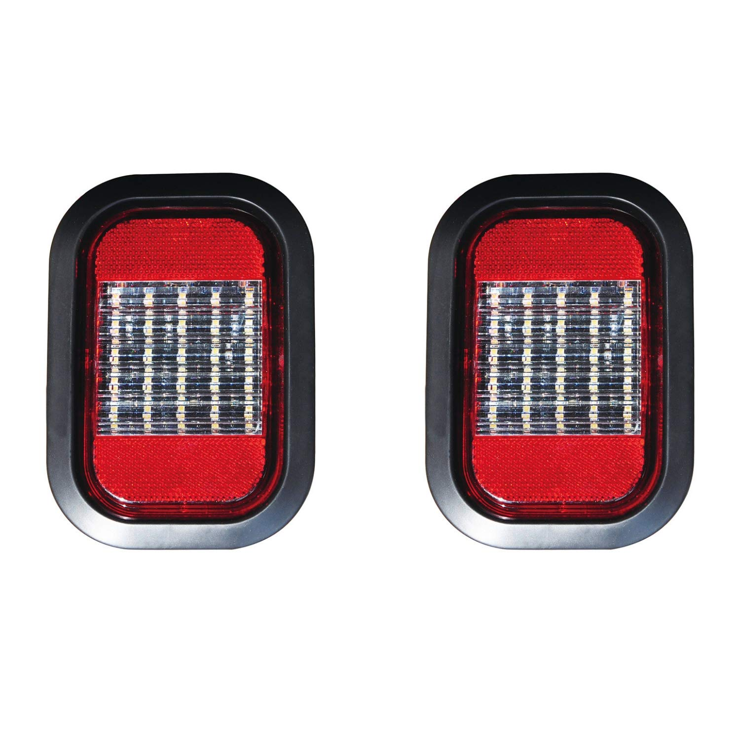 """Qty 2-5x3"""" Clear/White Rectangle 25 LED Reverse/Backup Truck Trailer Light with Red Reflector Grommet & Pigtail"""