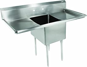 """John Boos E Series Stainless Steel Sink, 12"""" Deep Bowl, 1 Compartment, 18"""" Left and Right Hand Side Drainboard, 52"""" Length x 25-1/2"""" Width"""