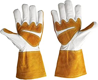 Goatskin Leather Welding Gloves Heat Resistant Rose Pruning Gardening Gloves Puncture Resistant Thornproof Yard Work Glove...