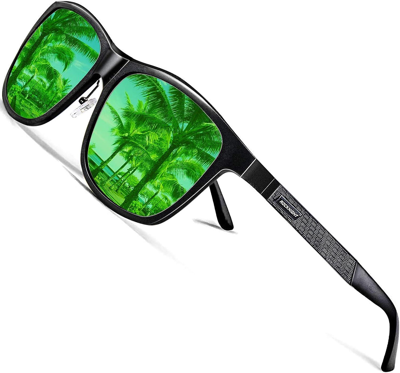 ROCKNIGHT Driving HD Polarized UV400 Protection Sunglasses for Medium&Big Head Al-Mg Metal Frame