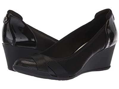 Anne Klein Sport Timeout Wedge Heel (Black Fabric) Women
