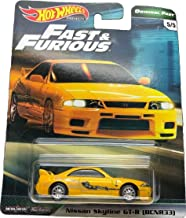Hot Wheels Compatible Nissan Skyline GT-R (BCNR33) Yellow 5/5 Premium 2019 Real Riders Fast & Furious Series 1:64 Scale Collectible Die Cast Model Car