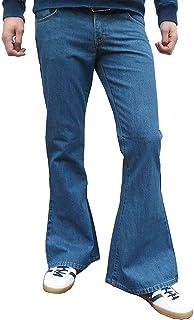 fuzzdandy Uomo slavato a zampa fondo campana DENIM JEANS Hippie INDIE pantaloni