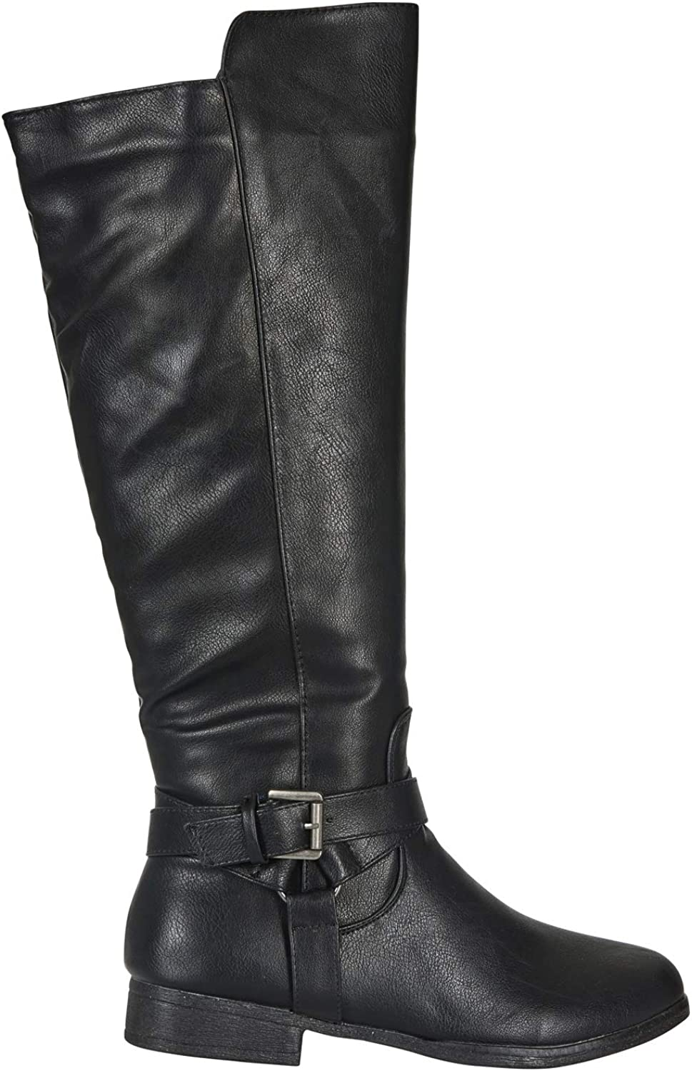 Via pink Women's Microsuede Knee-High Riding Boot Buckle Straps Slide-On Fashion shoes