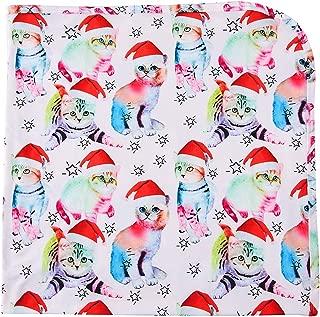 RAISEVERN Baby Unisex Receiving Blanket Soft Newborn Cute Printed Swaddle Headband Set 0-4 Months (Christmas cat, 80x80cm/0-4 Month)