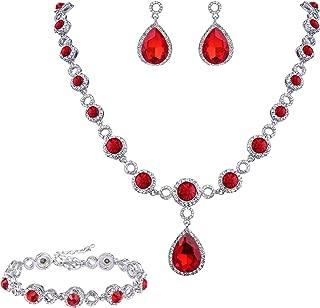 BriLove Women's Wedding Bridal Crystal Infinity Figure 8 Teardrop Y-Necklace Bracelet Earrings Set