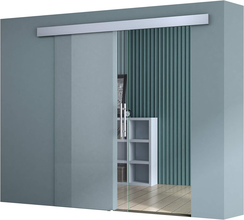 verre de s/écurit/é ESG transparent poign/ée ronde Sogood porte coulissante design Amalfi TS19-775 avec amortisseur 77,5x205cm