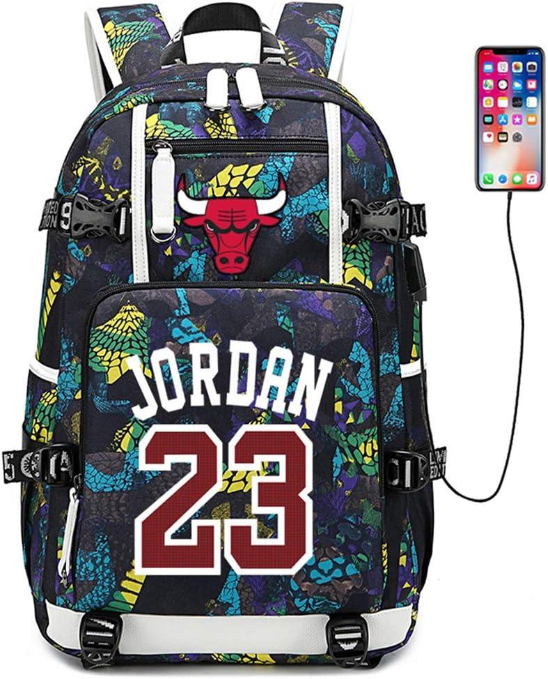 Lorh's store Jugador de Baloncesto Estrella Bulls Jordan Mochila multifunción Estudiante de Viaje Mochila para fanáticos para Hombres Mujeres