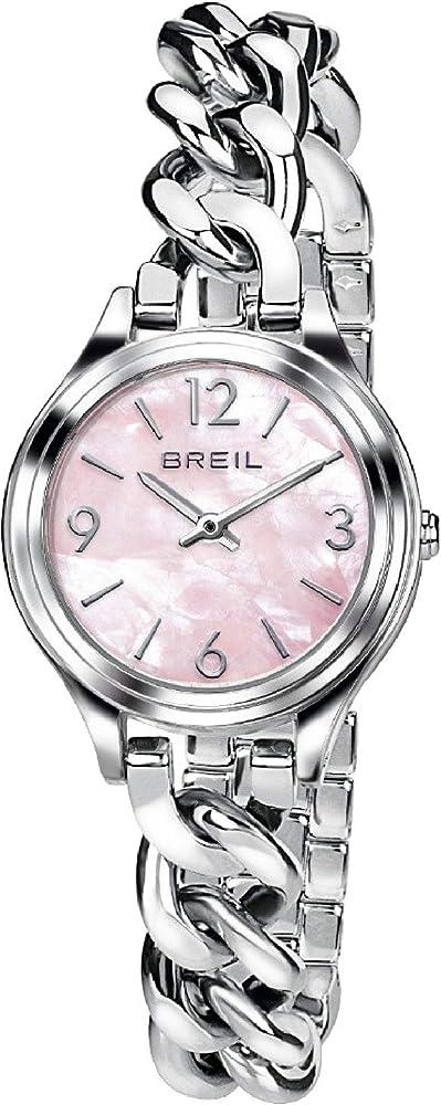 Breil - orologio da donna night out con quadrante rosa e swarovski agli indici in acciaio ip a catena TW1492