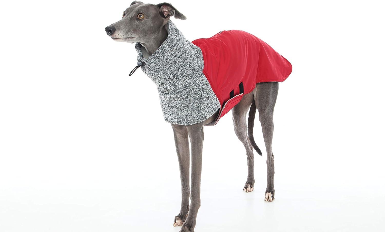 Deep Red and Grey Extreme Weather Fleece Whippet Coat, Greyhound, Italian Greyhound, Lurcher, Saluki, Sighthound Dog Sweater Clothing Jacket (XXS)