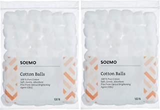 Amazon Brand - Solimo Cotton Balls - 100 Units (Pack of 2)