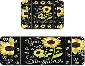 Kitchen Rug Set 2 Pieces Cushioned Kitchen Floor Mats Comfort Soft Standing Doormat, Non Slip Rugs and Runner Sunflowers Black You are My Sunshine