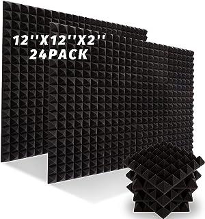 """24 PACK Acoustic Foam Panels, 12"""" X 12"""" X 2"""" Sound Proof Foam Panels, Fireproof Soundproof Wall Panels, High Density Acous..."""