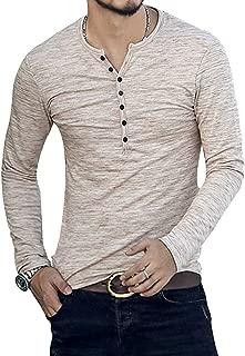 PERDONTOO Men's Casual Slim Fit Long Sleeve Henley T-Shirts Cotton Shirts