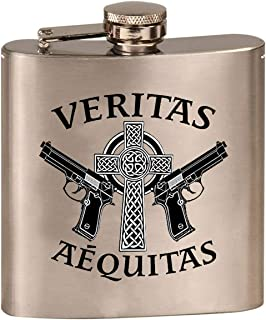 Aequitas Veritas Saints Gun Celtic Cross - 3D Color Printed 6 oz. Stainless Steel Flask (Steel Silver)