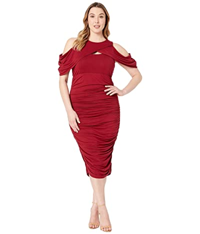 Kiyonna Bianca Ruched Dress (Ruby) Women