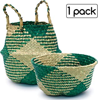 Kxuhivc Seagrass Belly Basket with Handles Portable Plants Flowers Pot Cover for Storage Laundry Picnic Beach Woven Straw Bag Indoor Outdoor Home Decor (Small, Green Grid)