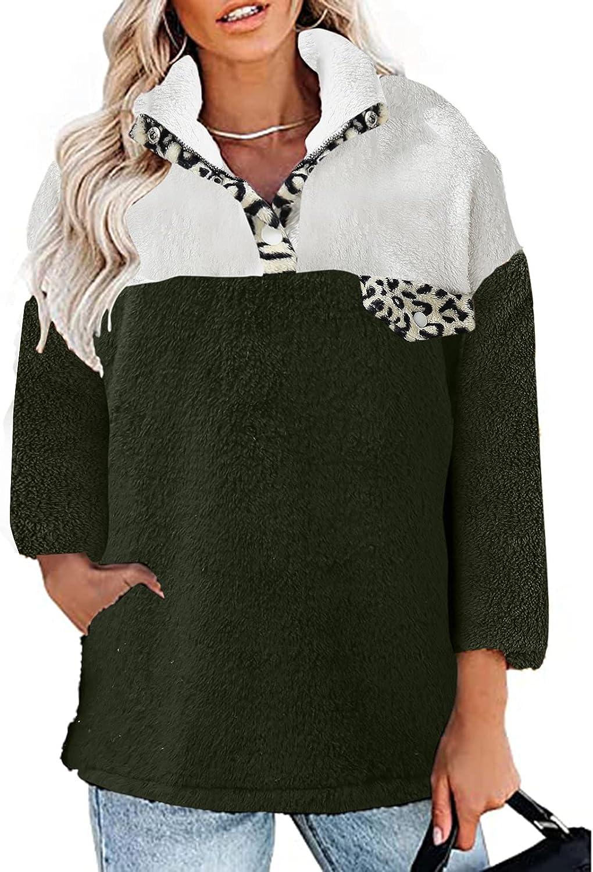 JINF Women Winter Casual Thick Cardigan Suit Collar Pocket Long Sleeve Plush Tops-Turtleneck Jacket-Coat