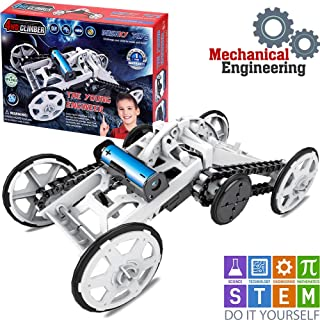 STEM Toys -The Young Engineer 4WD Electric Mechanical Assembly Kit   DIY Climbing Vehicle, Circuit Building Toy Car for Kids Age 8+ Teens Adults  DIY Science Experiments, Boys & Girls Birthday Gift