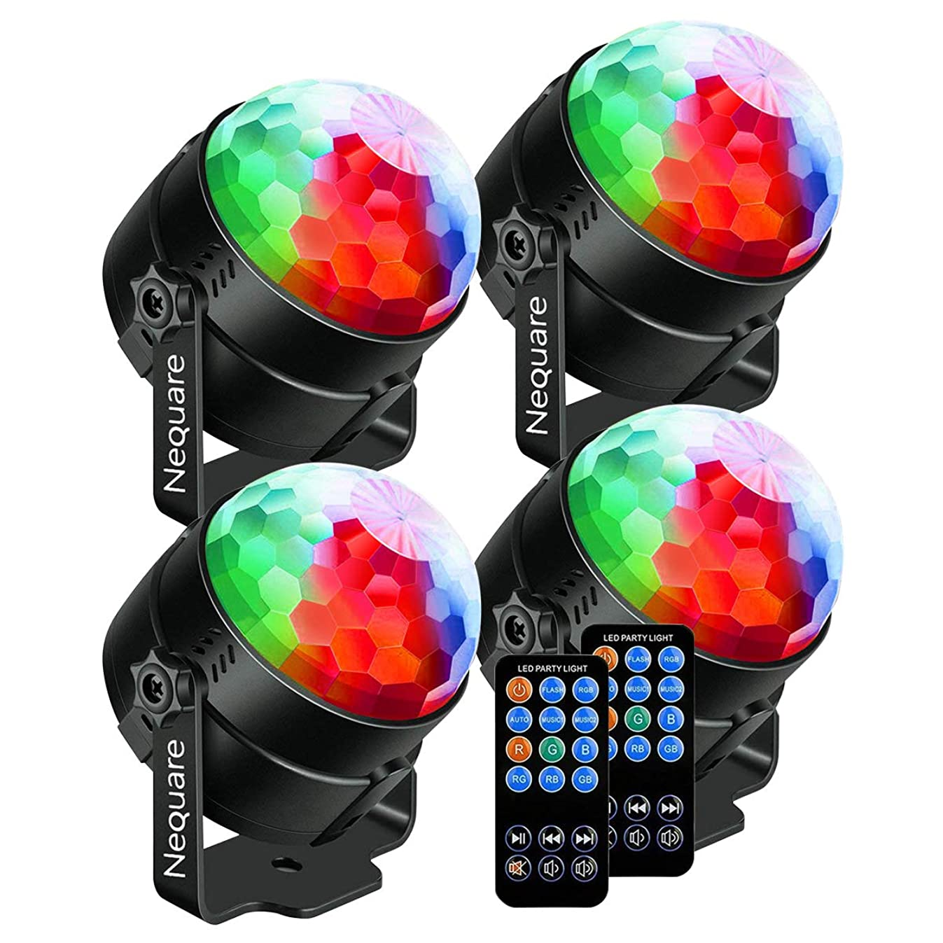 Nequare Party Lights Sound Activated Disco Ball Strobe Light 7 Lighting Color Disco Lights with Remote Control for Bar Club Party DJ Karaoke Wedding Show and Outdoor (4 PACKS)