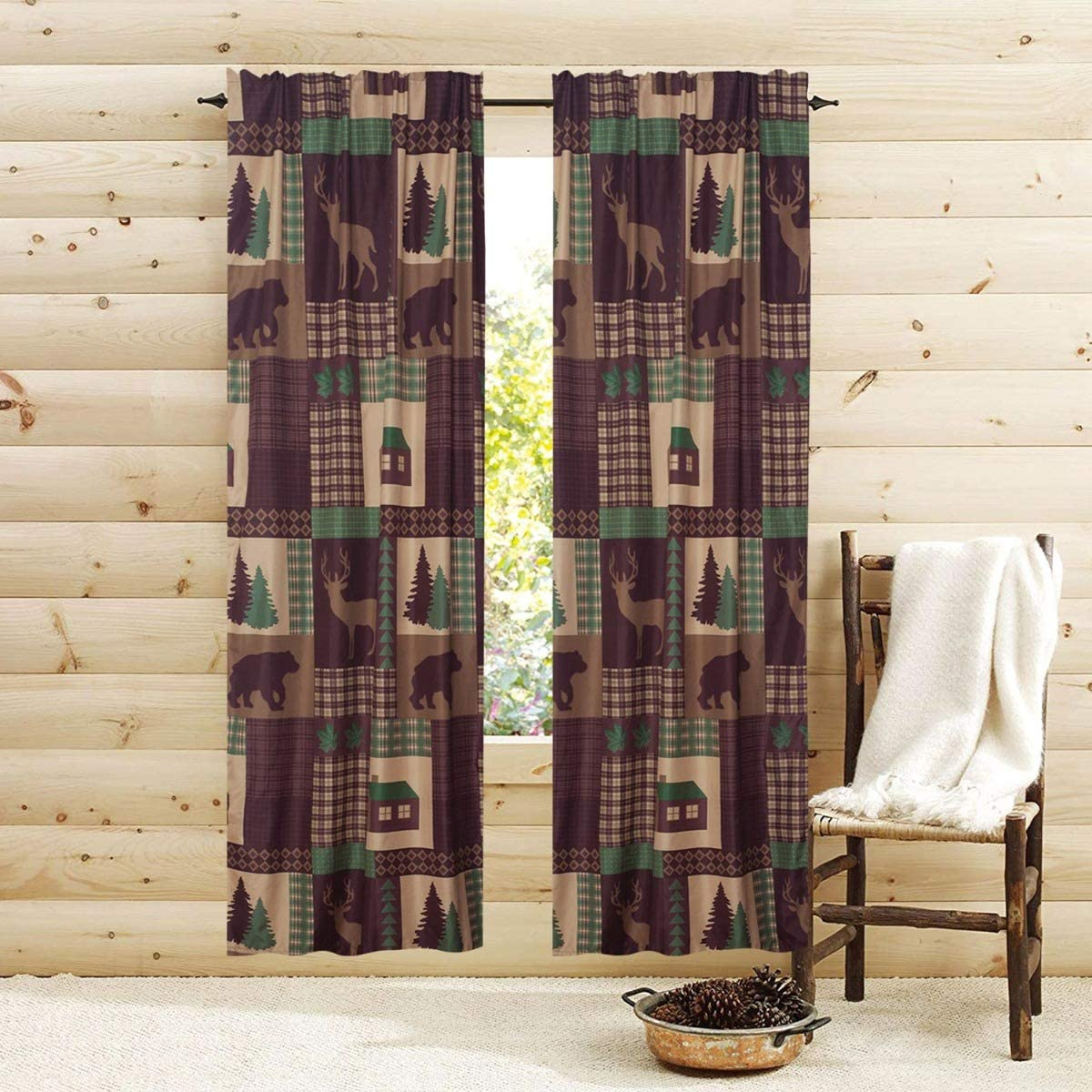 Privacy 84 67% OFF of fixed price in. Rustic Cabin Window Curtains Pair Panel Drapes Lo Classic