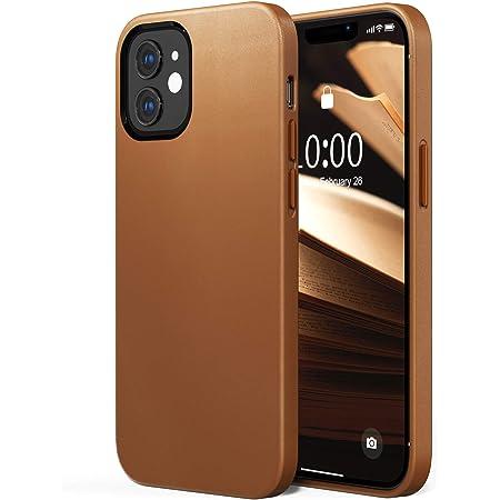 SURPHY Funda Compatible con iPhone 12 / iPhone 12 Pro Cuero Sintético 6.1'', Funda Delgada para Teléfono de Cuero Sintético, Protector Cuero Carcasa para iPhone 12 / iPhone 12 Pro 6.1 Pulgadas, Marrón