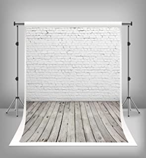 Brick Backdrop - 7x5ft White Brick Wall Backdrop with Wood Floor Photography Background for Newborn Baby Adult Portrait Photo Studio Props