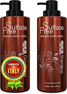 Moroccan Argan Oil Sulfate Free Shampoo and Conditioner Set - Best for Damaged, Dry, Curly or Frizzy Hair - Thickening for...
