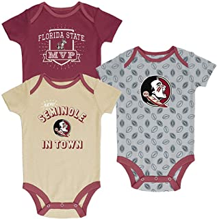 Pro Edge NCAA Newborn & Infants' 3-Pack Graphic Bodysuits FSU Florida State Seminoles