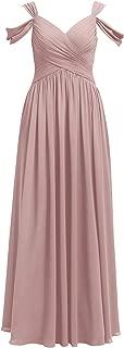 Alicepub Pleated Chiffon Bridesmaid Dress Long Formal Event Dress for Wedding Party