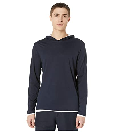 Vince Double Layer Contrast Hoodie (Coastal/Optic White) Men