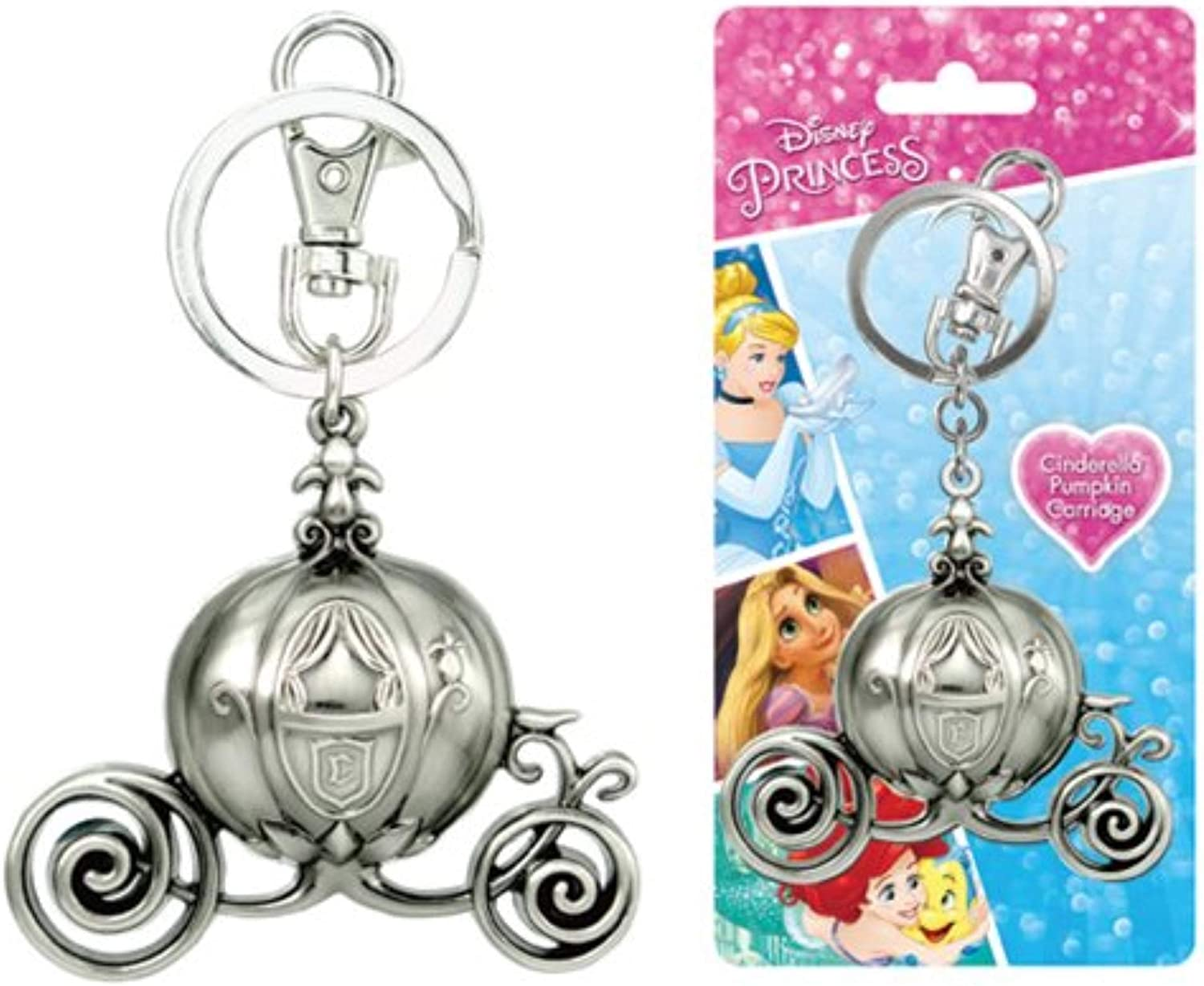 Disney Cinderella Carriage Pewter Key Ring Collectible Multi-colored, 3