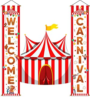 Carnival Circus Banner Decorations - Birthday Party Supplies Door Porch Sign Welcome Home Décor
