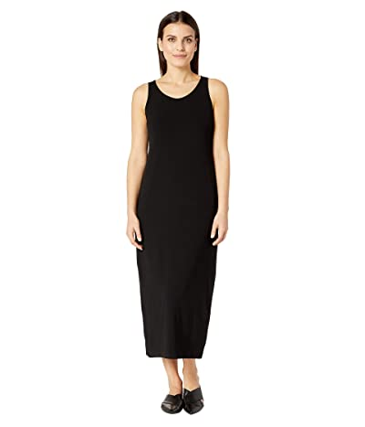 Eileen Fisher Petite Viscose Jersey Scoop Neck Dress (Black) Women