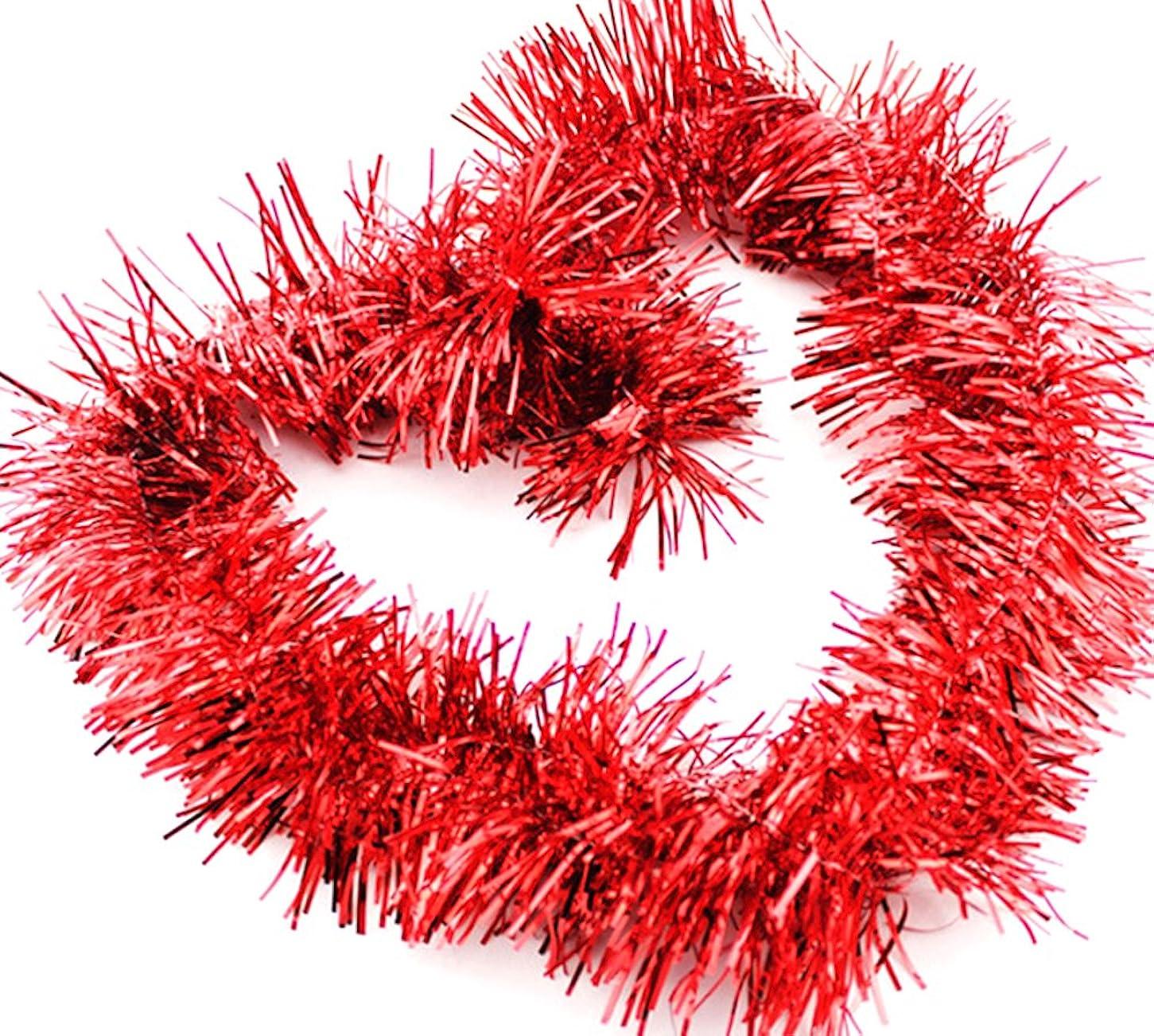 保証する近所のモックDCMA パーティー 【レッド】クリスマス リース キラキラ パーティー モール フリフリ 飾り ボリューム感 Lサイズ 幅8CM 長2M 1点