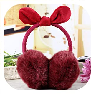 New Lovely Rabbit Fur Winter Earmuffs Ear Warmers Winter Comfort Earmuffs Warm Winter Earmuffs For Women Girls Fur Headphones,RedWine