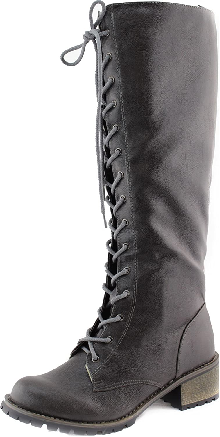 Toi Et Moi Martin-03 Laced Up Knee High Fashion Boots