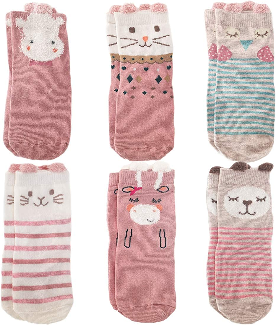 Hanangs 1-5 Years Cozy Anti Slip Socks For Baby Toddlers Kids Boys Girls