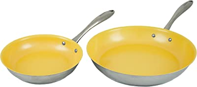 """Tuxton Home Concentrix Nonstick Color Frypans, 8"""" and 11"""", Saffron Yellow; Stainless Steel with Ceramic Nonstick Coating, Stainless Steel, PFTE & PFOA Free, Freezer to Oven Safe, Induction Compatible"""