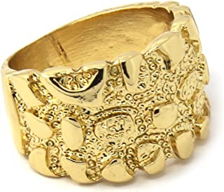 Jewel Town Mens 14K Gold Plated Hip Hop Iced Gold Nugget Cut Cz Pimp Ring Sizes 7 8 9 10 11 12 MR10