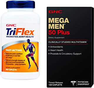 GNC Mega Men 50 Plus and TriFlex Bundle - Mega Men 50 Plus Multivitamin and TriFlex Fast Acting Joint Support