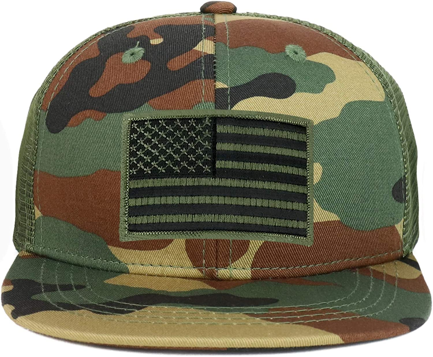 Armycrew Youth Kid's Olive American Flag Patch Flat Bill Snapback Trucker Cap