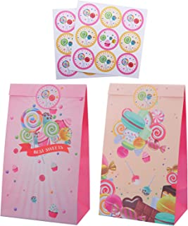Lollipop Dessert Candy Theme Party Favor Bags with Stickers, Girls Boys Kids Party Supplies Wrapped Treat Bags for Happy B...