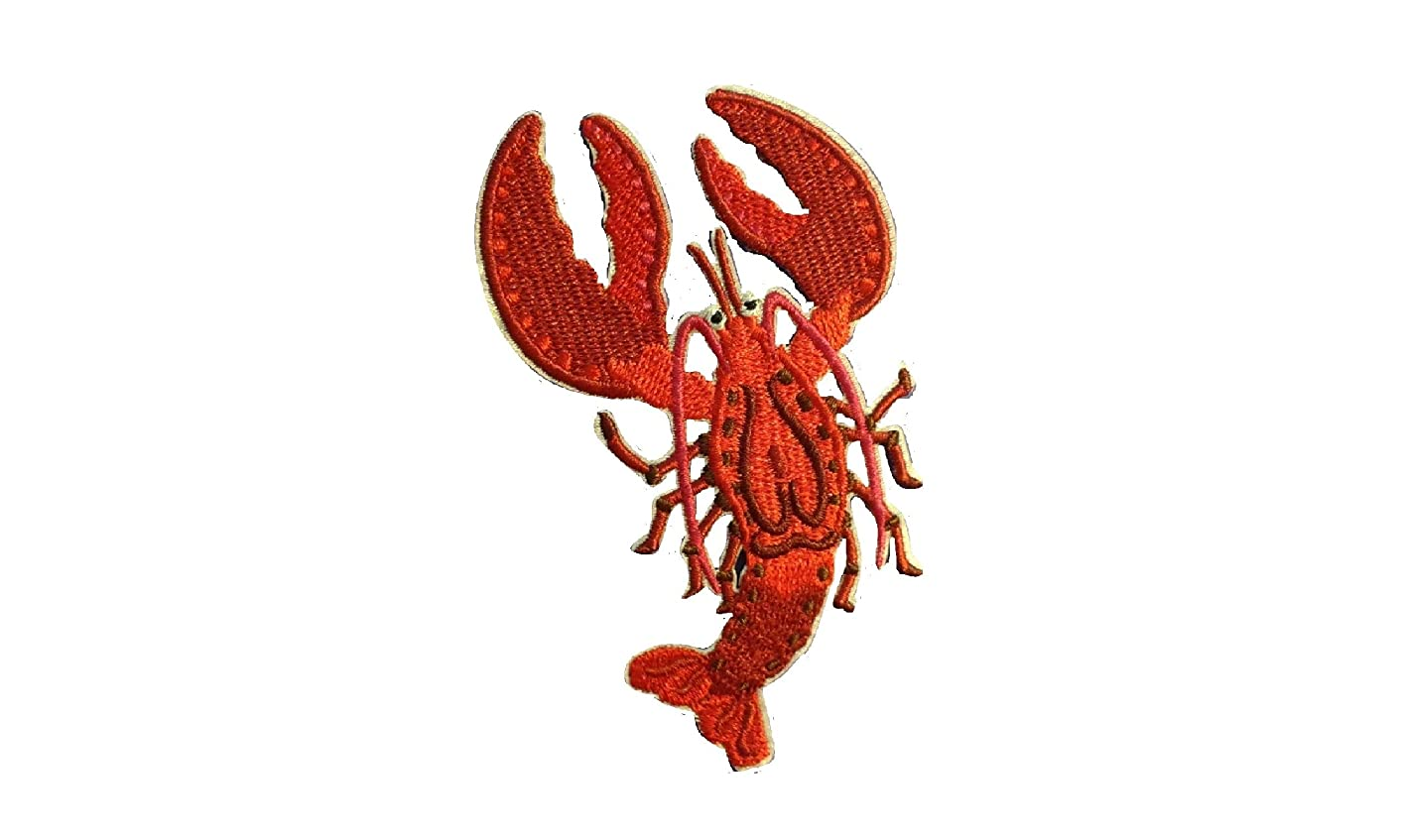 Lobster Iron On Patch Applique Embroidered Motif Fabric Beach Sea Creature Star Fish Marine Scrapbooking Decal 4 x 2.5 inches (10 x 6.3 cm)