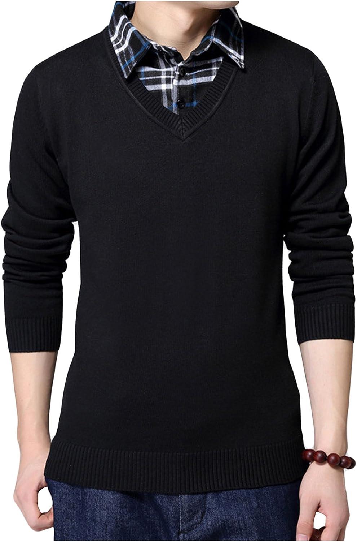 Legou Men's Fake Two-Piece V-Neck Pullover Sweater