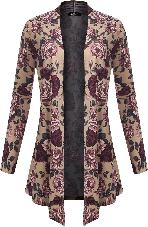 BH B.I.L.Y USA Women's Open Front Drape Hem Lightweight Cardigan Floral Print