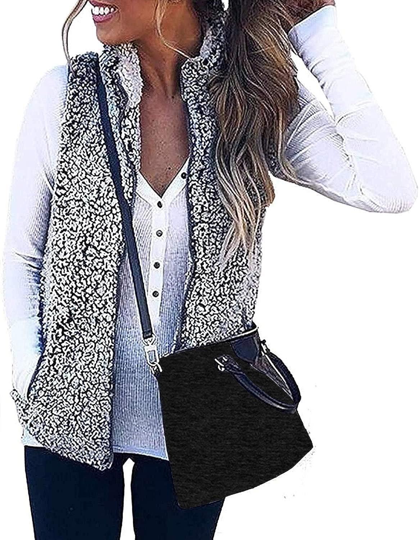 ZESICA Women's Sleeveless Zip Up Fuzzy Fleece Lightweight Fall Warm Zipper Vest With Pockets